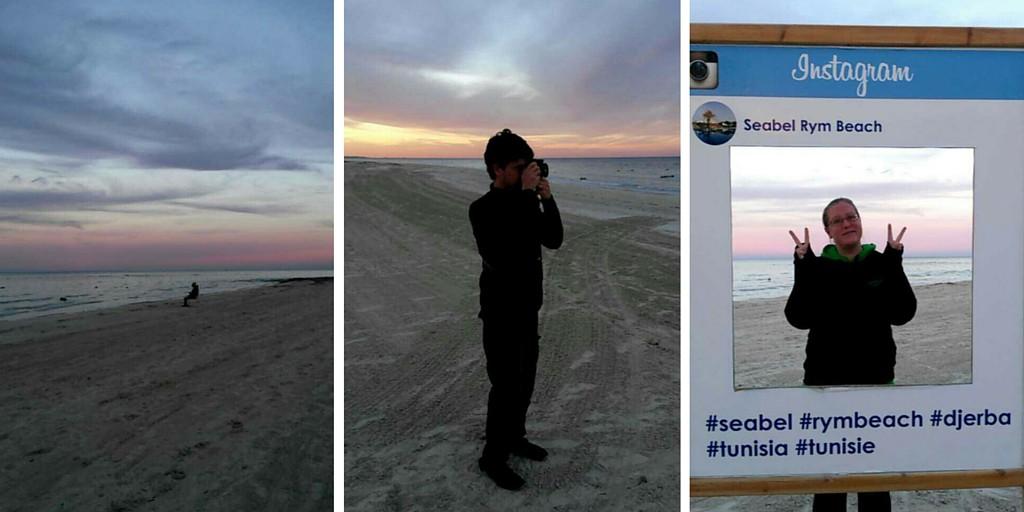 Auringonlaskun aikaan rannalla